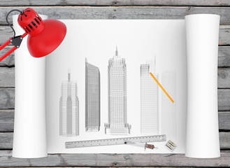 Architectural drawing and office supplies on the background of
