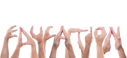 lot of hands form the word education