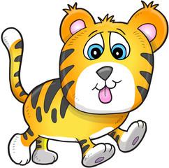Cute Tiger Cub Vector Illustration Art