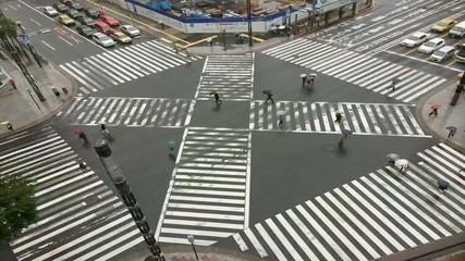 Fotomurales - belebte Straßenkreuzung im Zeitraffer
