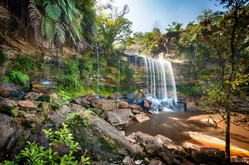 HDR photo image of tropical waterfall