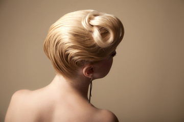 Blonde woman hairstyle