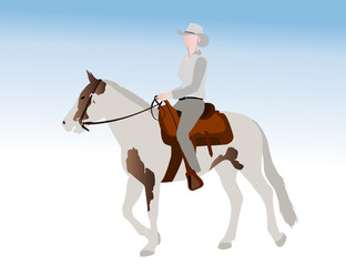 cowgirl riding horse illustration - vector