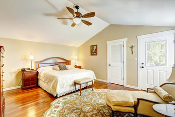 Warm bedroom interior with antique funiture