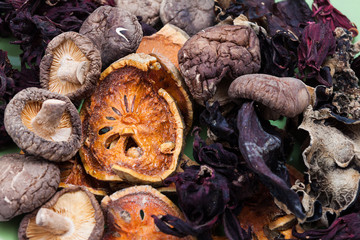 Heap of dried  vegetable and fruit