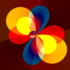 Abstract Colorful Red Orange Blue Flower Petals