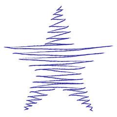 Skizze Stern, Kugelschreiberzeichnung, blau, Vektor