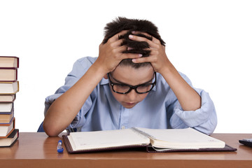 boy with books on the study table