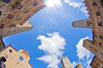 Fisheye view of San Gimignano central square, Tuscany