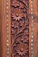 Wood Craving with flower Pattern