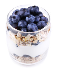 Healthy breakfast - yogurt with  blueberries and muesli served