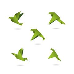 origami green birds icons set vector illustration