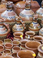 Wall Murals Nepal Traditional clay pots exposed to a rural fair