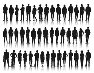Silhouette Group of People Standing