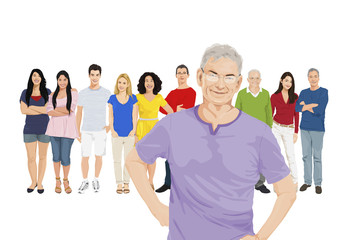 Illustration of Multiethnic People with Contrast