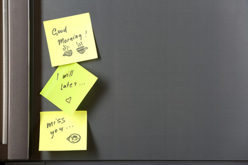 Note on piece of paper on refrigerator closeup