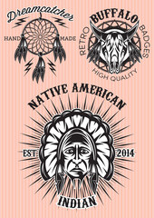 vector set of emblems on theme of native American