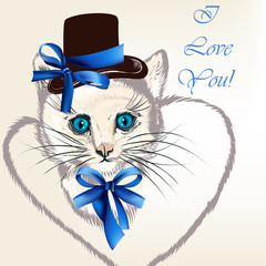 Background with cat in hat with bows and stylized heart