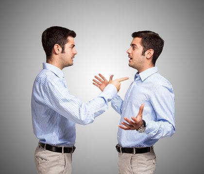 Man talking to himself