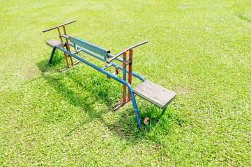 Modern colorful children playground in public park