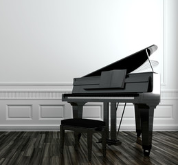 Open grand piano in a paneled room