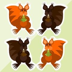 Squirrel vector stickers