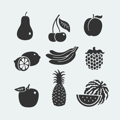 Set of symbols fruit