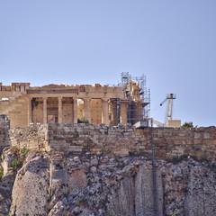 Athens, erechtheion temple on the northern facade of acropolis