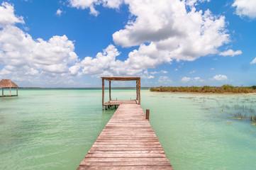 pier in Caribbean Bacalar lagoon - Mexico