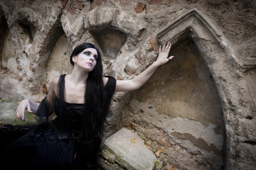 Halloween Misterious Dressed Gothic Woman