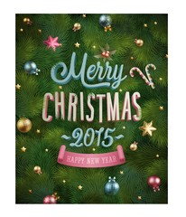 Wall Mural - Christmas poster with fir tree texture and baubles.