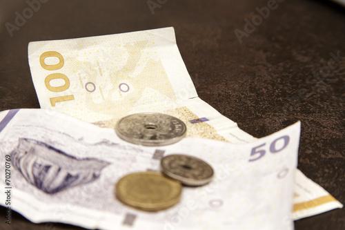 Dänische Kronen Papiergeld Und Münzen Stockfotos Und Lizenzfreie