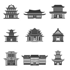 Chinese house icons black