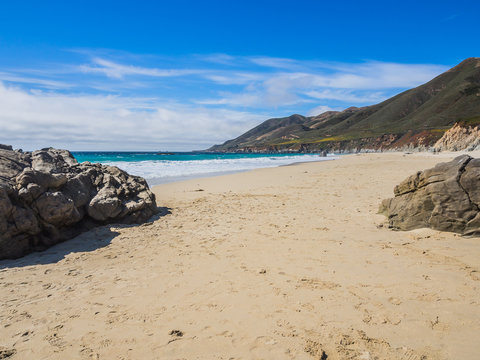 A beautiful view of sand beach on Highway 1, Big Sur, CA