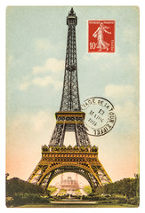 vintage postcard with Eiffel Tower in Paris