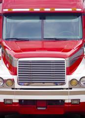 Tractor-trailer truck head-on