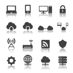 Network and cloud computing icons