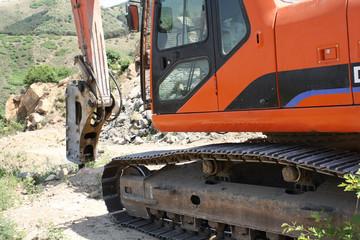 Excavators on construction site