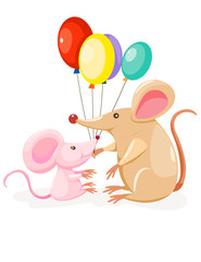 cute mouses with balloon