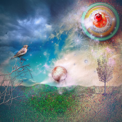Photo sur Plexiglas Imagination Starry countryside