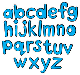 Letters of the alphabet in blue color