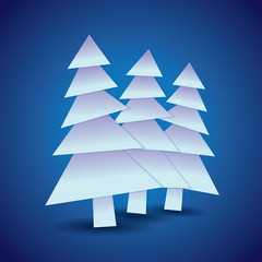 Three Christmas trees, illustration