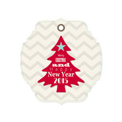 christmas and new year 2015 label with red tree