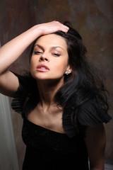 Beautiful young girl expresses feeling of pleasure