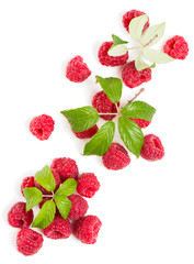 Top view of  a stack of raspberries