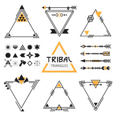 Tribal empty triangles labels, arrows, and symbols set