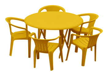 Plastic table and chairs - yellow