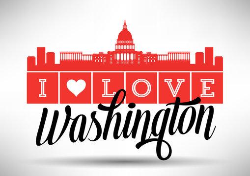 I Love Washington Skyline Design