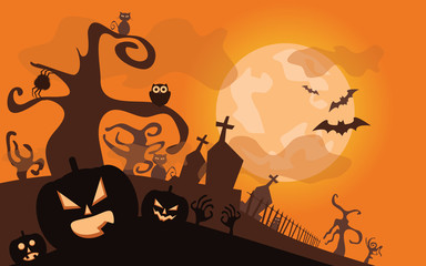 Halloween background. Vector illustration with pumpkins
