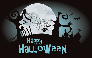 Halloween background. Vector illustration with scary forest